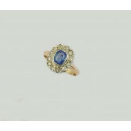 Pierścionek złoty Szafir + diamenty