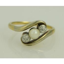 Pierścionek złoty Art  Deco Perła + diamenty