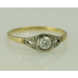 Pierścionek złoty z diamentem + rozety