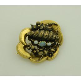 Broszka Biedermeier złota z opalami