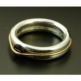 Pierścionek Srebrny + złoto Kamień Granat