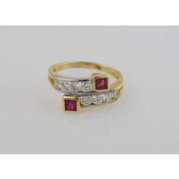 Pierścionek 2 rubiny+diamenty 1