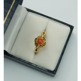 Pierścionek ORNO  złoty z Koralem