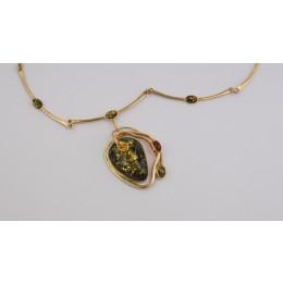 Naszyjnik złoty z bursztynem