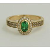 Pierścionek złoty Szmaragd + Diamenty