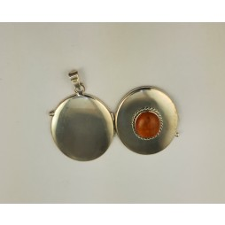 Medaljon Sekretny Srebrny z Bursztynem