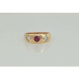 Pierścionek złoty Rubiny + diamenty