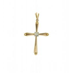 Krzyżyk złoty  z diamentem