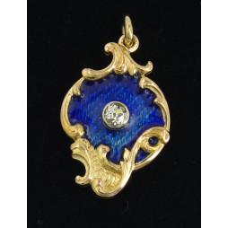 Wisior złoty diament , emalia Stara Rosja