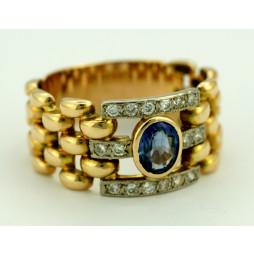 Pierścionek złoty z Szafirem i diamentami