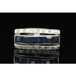 Pierścionek złoty z Szafirami + diamenty