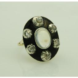 Pierścionek emalia diamenty kamień księżycowy