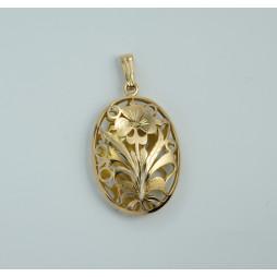 Wisior złoty wycinany w kwiaty
