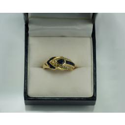 Pierścionek złoty Szafiry+  diamenty