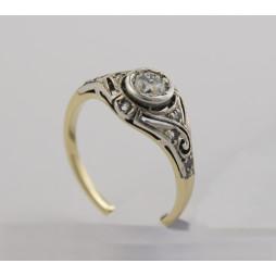 Pierścionek złoty  Brylant  + Diamenty